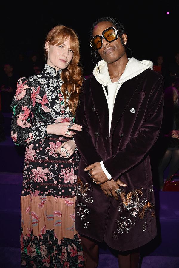Florence Welch, A$AP Rocky na pokazie Gucci na jesień/zimę 2017