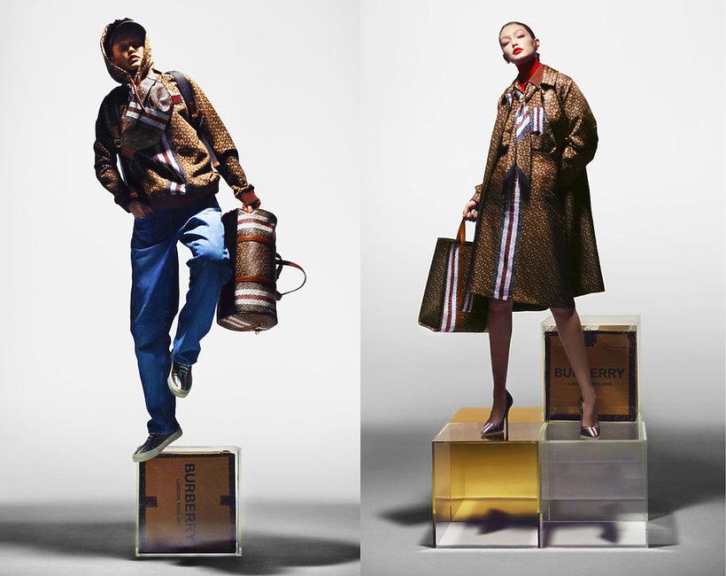 Gigi Hadid w reklamie kolekcji Burberry o nazwie Monogram