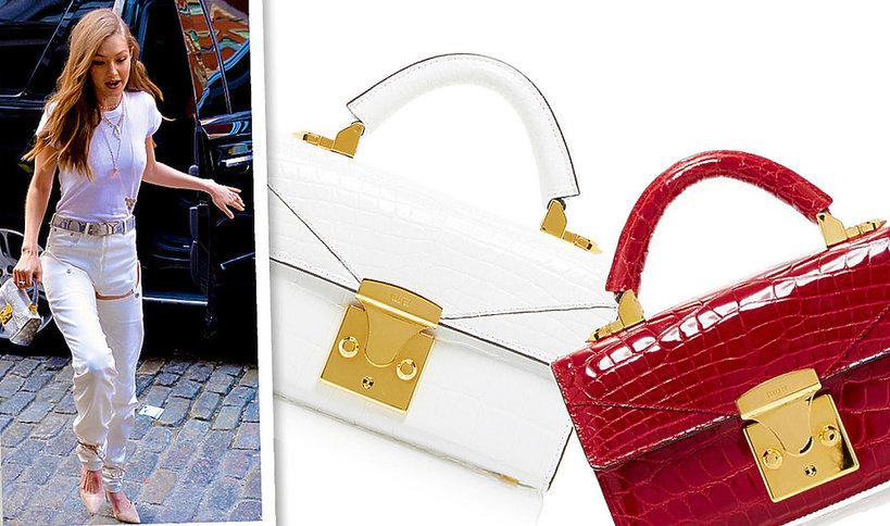 Gigi Hadid z luksusową torebką marki Stalvey