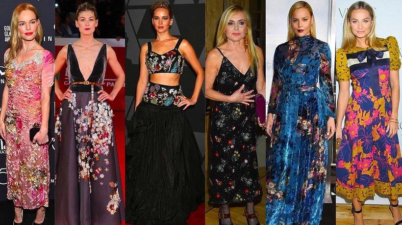 Gwiazdy noszą zimą sukienki w kwiaty