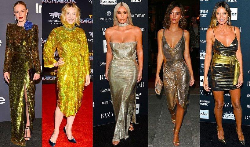 Gwiazdy w złotych sukniach na czerwonym dywanie