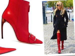 Joanna Przetakiewicz w czerwonych kozakch, hit sezonu czerwone buty