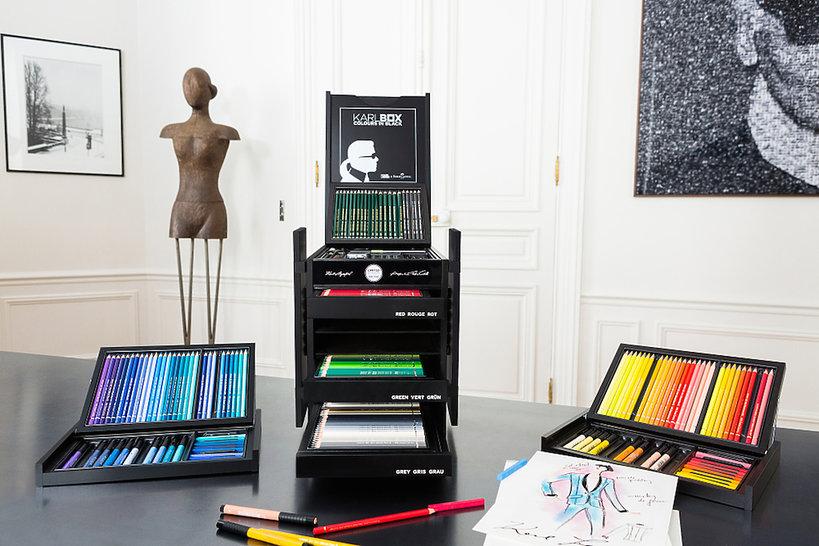 Karl Lagerfeld zaprojektował ekskluzywny box z przyborami do rysowania i malowania dla marki Faber-Castel