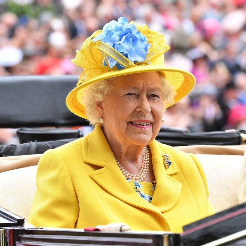 Królowa Elżbieta II na wyścigach Royal Ascot 2018