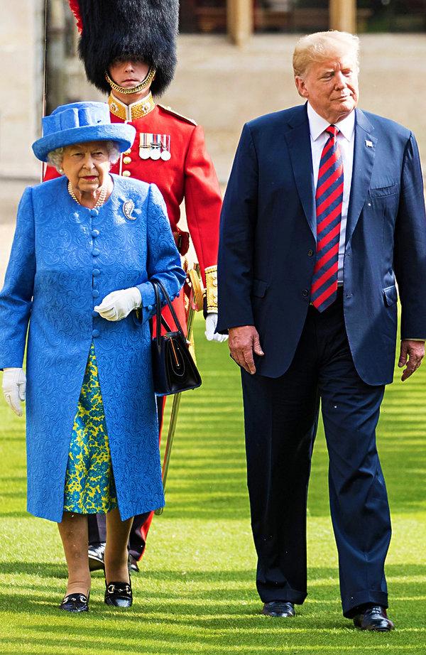 królowa Elżbieta II podczas wizyty Donalda Trumpa