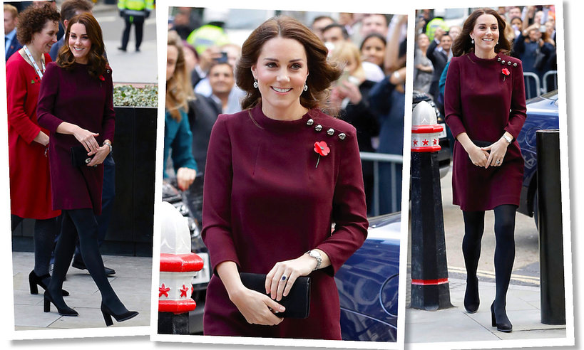 Księżna Kate w ciąży w bordowej sukience