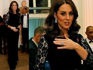 Księżna Kate w ciąży w koronkowej czarnej sukience Diane Von Furstenberg