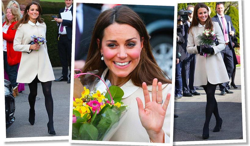 Księżna Kate w ciąży w kremowym płaszczu