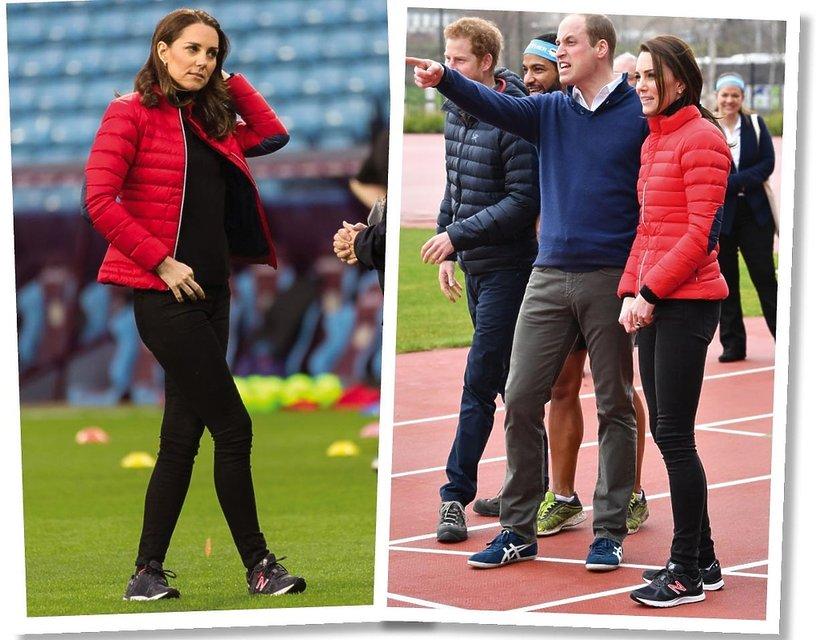 Księżna Kate w czerwonej puchówce i butach sportowych New Balance