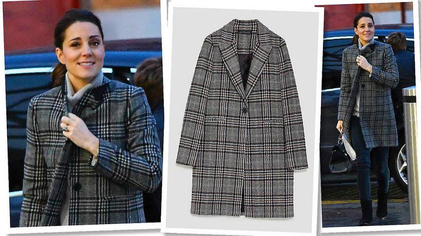 Księżna Kate w płaszczy w kratę