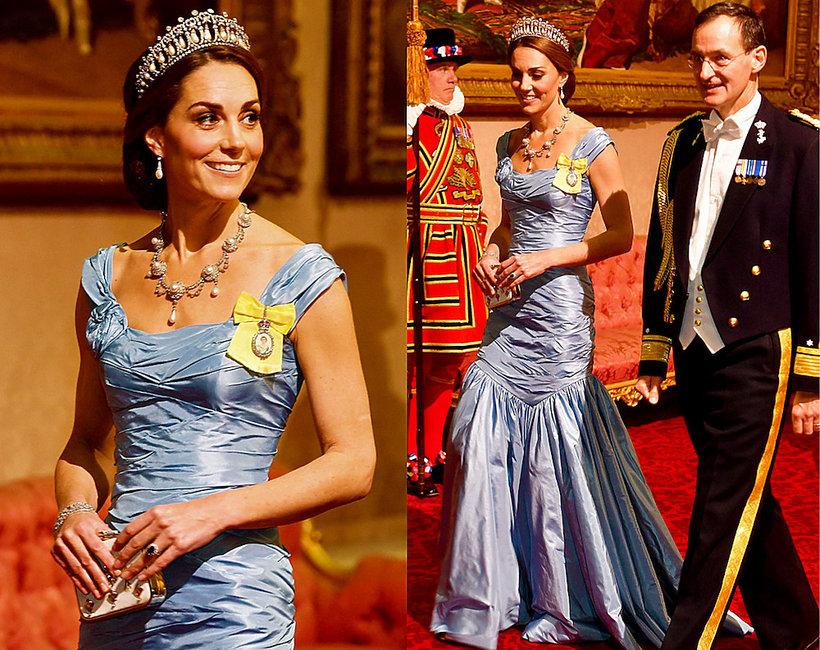 Księżna Kate w sukni  domu mody Alexander McQueen na kolacji w Buckingham Palace