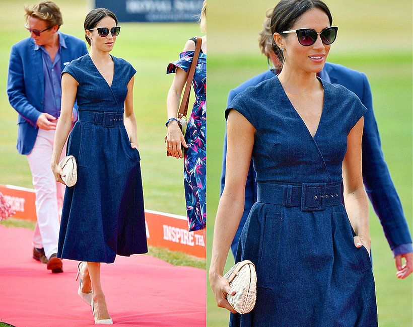 Księżna Meghan w dżinsowej sukni na  turnieju polo
