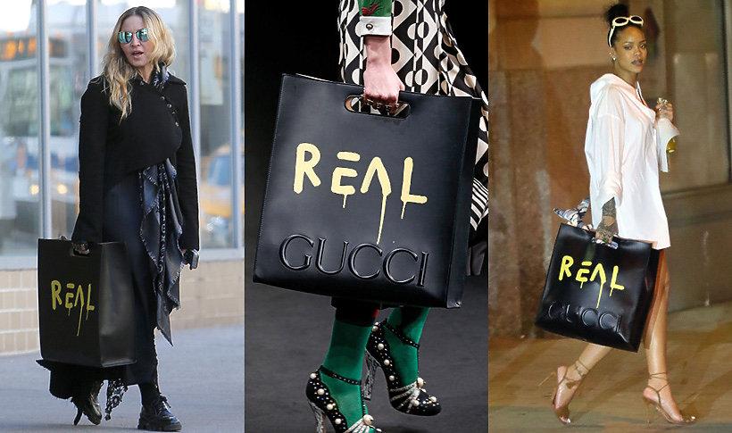Madonna, Rihanna z torbą Gucci