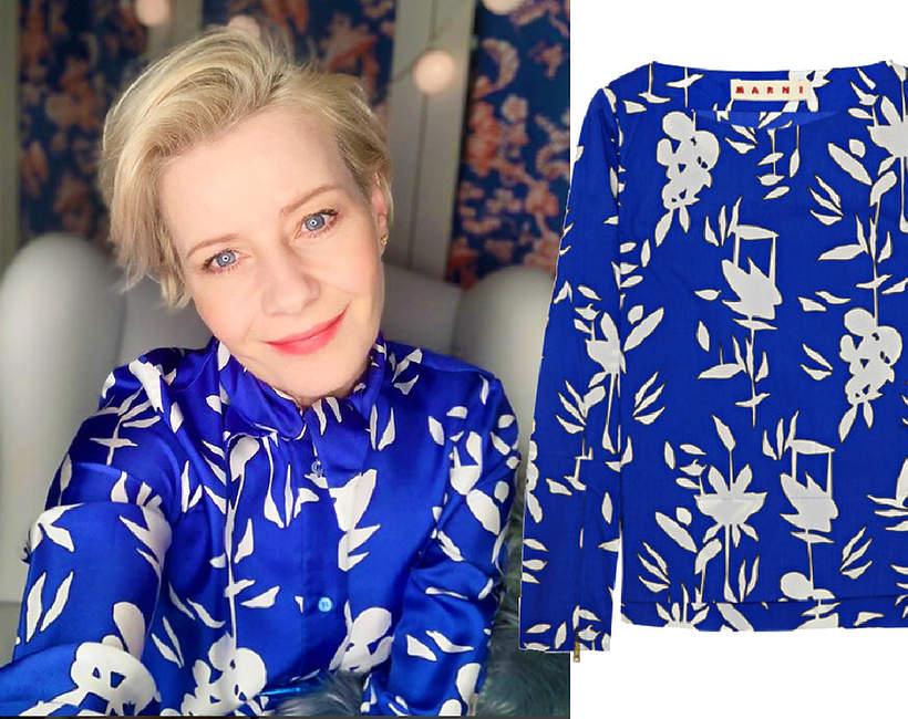 Małgorzata Kożuchowska w eleganckiej stylizacji w domu