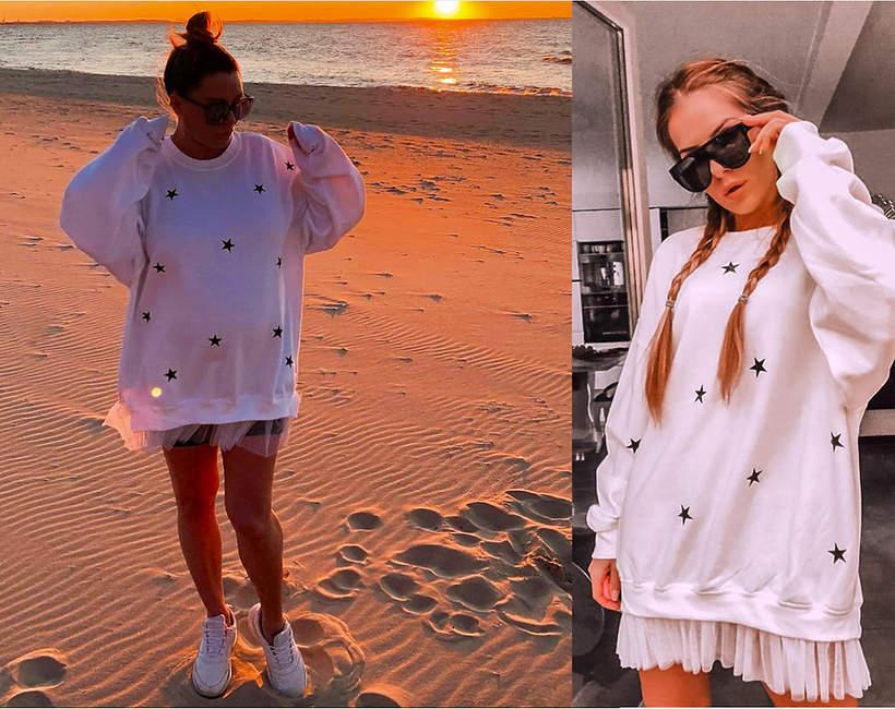 Małgorzata Rozenek-Majdan w ciążowej stylizacji sukience polskiej marki na plaży