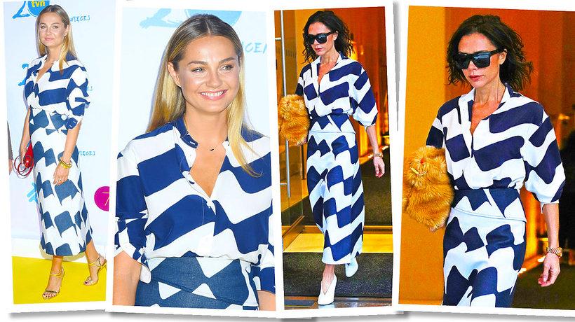 Małgorzata Socha, Victoria Beckham w tej samej sukience w biało-niebieskie wzory