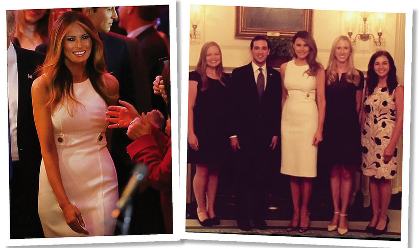 Melania Trump w białej sukni Michaela Korsa
