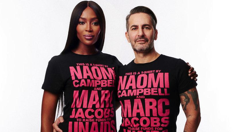 Naomi Campbell i Marc Jacobs zaprojektowali T-shirta z okazji obchodzonego 1 grudnia Światowego Dnia Walki z AIDS