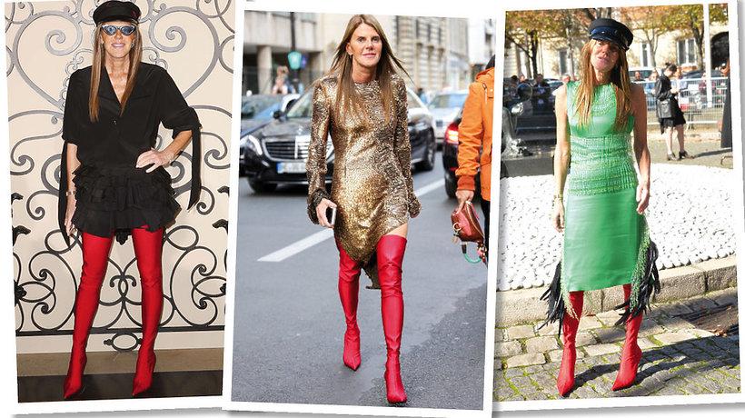nna Dello Russo w wysokich butach, gorący trend na jesień i zimę