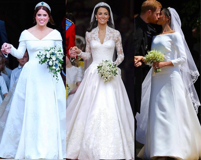Porównujemy suknie ślubne księżniczki Eugenii, księżnej Kate i księżnej Meghan