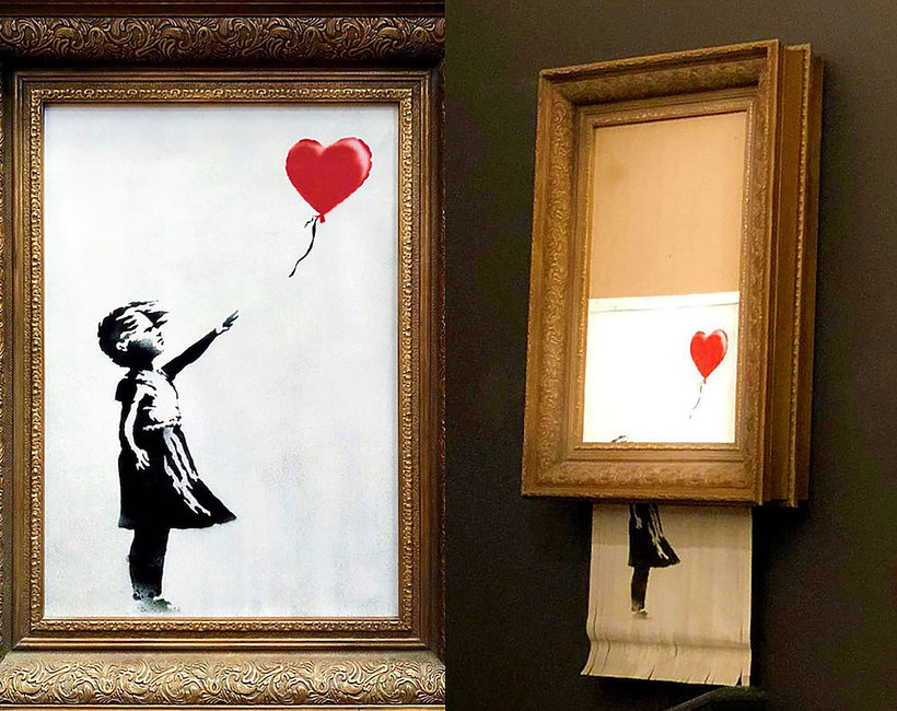 przedana za milion funtów praca Banksy'ego uległa samozniszczeniu tuż po licytacji!
