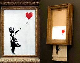 Skandal na aukcji! Obraz Banksy'ego, sprzedany za milion funtów, uległ… samozniszczeniu!