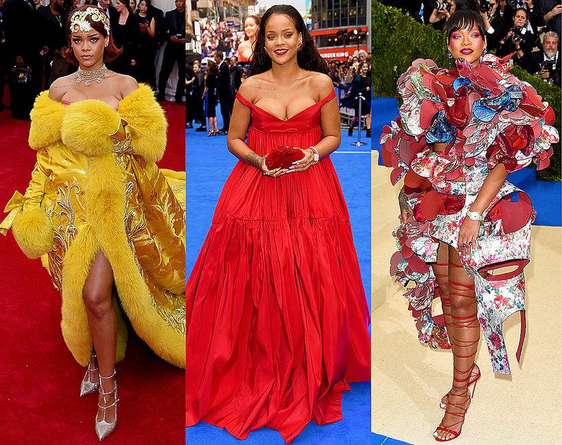 Rihanna urodzony stylizacje na czerwonym dywanie