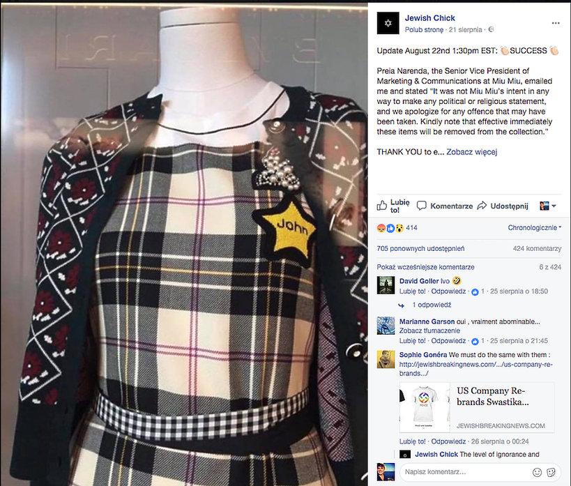 Skandal z kolekcją Miu Miu, gwiazda Dawida  jaką w czasie Holocaustu byli zmuszeni nosić Żydzi