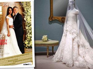 ślubna suknia Amal Clooney na wystawie kreacji Oscara de La Renta w amerykańskim Houston
