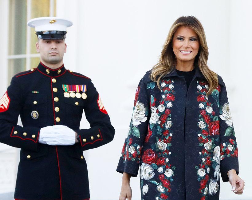 Stylizacja Melania Trump na inauguracji sezonu świątecznego w Białym Domu