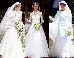 Czym się różniły suknie ślubne księżnej Diany, księżnej Kate i… księżnej Meghan!