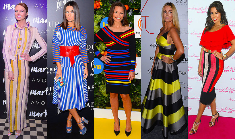 Trend kolorowe paski,  Katarzyna Burzyńska, Małgorzata Rozenek- Majdan, Anna Starmach, Natalia Siwiec, Macademian Girl
