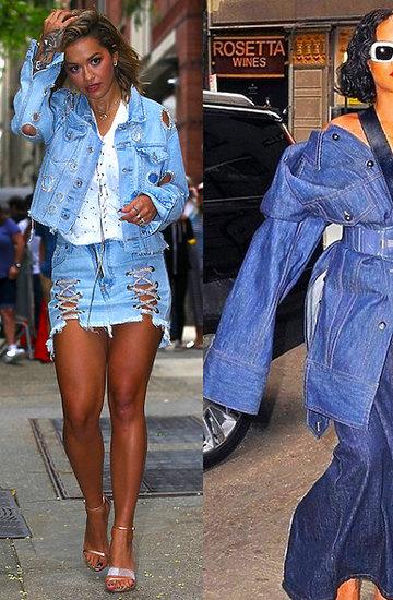 Trend sezony dżinsowy total look, stylizacje gwiazd w dżinsie