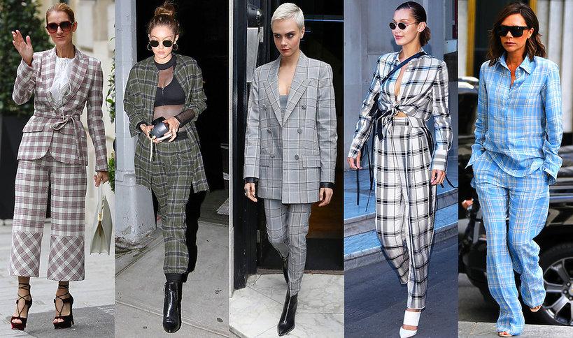 Trendy na jesień 2017 krata total look, stylizacje gwiazd