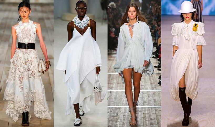 Trendy na wiosnę 2020 biała sukienka