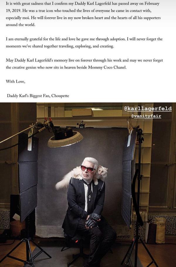 """Ukochana kotka Lagerfelda """"wydała"""" oświadczenie po jego śmierci"""