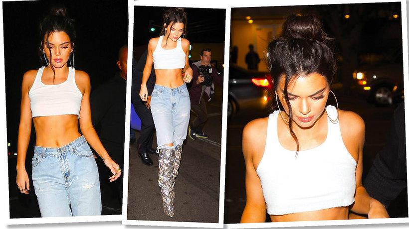 urodzinowa sturodzinowa stylizacja Kendall Jenner w butach Saint Laurent