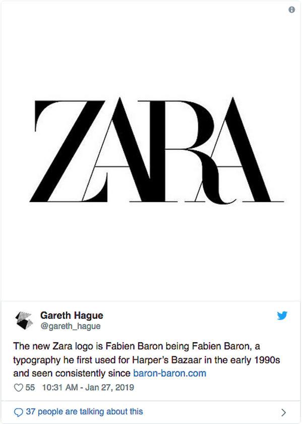 Zara zmienia logo